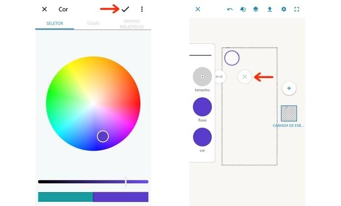 Seleção de cor de pincel do Photoshop Sketch (Foto: Reprodução/Raquel Freire)