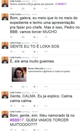 Lelly Costa comenta participação do namorado, Pedro Falcão, no BBB 17 (Foto: Reprodução/Twitter)