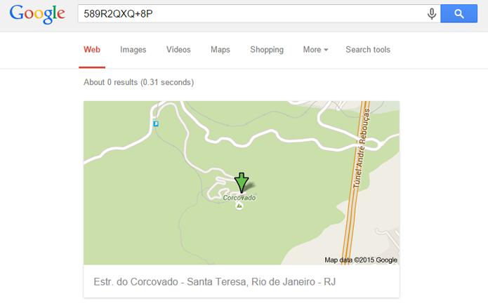 Códigos de localização do Google são aceitos no sistema de buscas e aplicativos de mapas (Foto: Reprodução/Google)