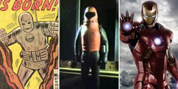 Homem de Ferro nos quadrinhos (1963), sua versão pirata na televisão (1977) e no cinema (2012) (Foto: Divulgação)