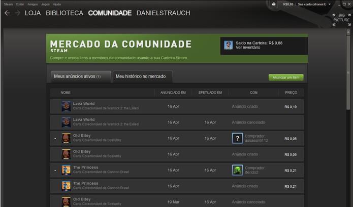 O Mercado da Comunidade do Steam funciona como um eficiente leilão virtual entre os usuários (Foto: Reprodução/Daniel Ribeiro)