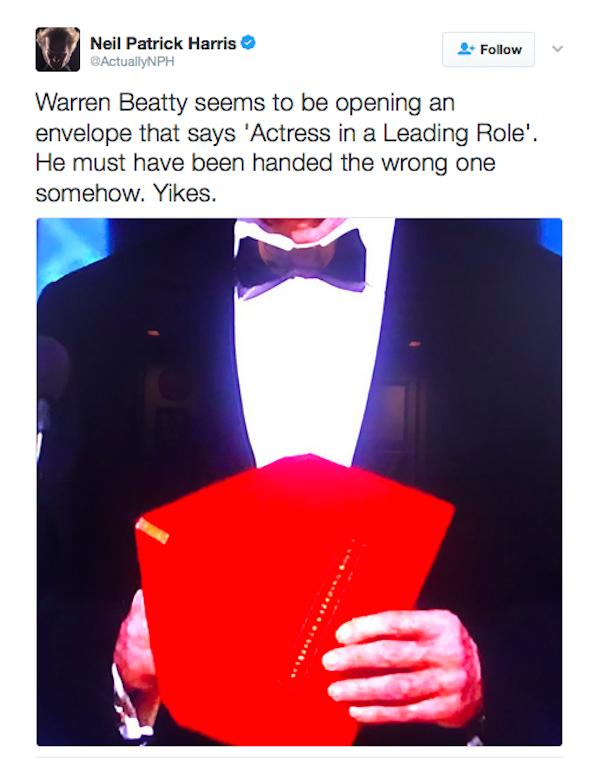 O ator Neil Patrick Harris explica a confusão ocorrida no Oscar 2017 (Foto: Twitter)