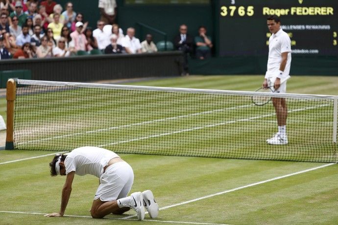 Roger Federer, Milos Raonic, Wimbledon, tênis (Foto: Reuters)