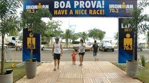 Turistas chegam em Palmas para Ironman 70.3 (Foto: Reprodução/TV Anhanguera)