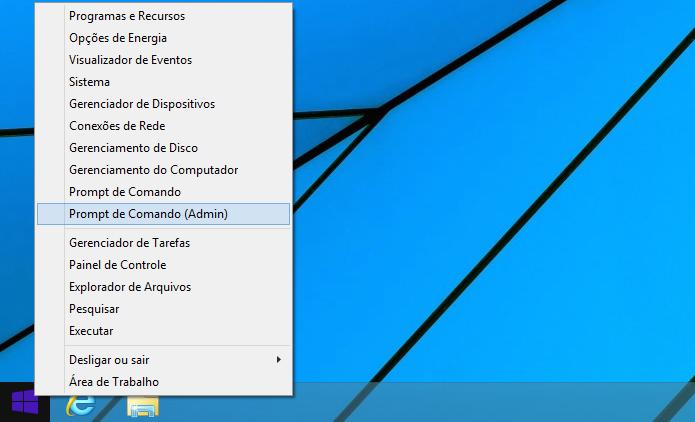 Acessando o Prompt de Comando como administrador no Windows 8 (Foto: Reprodução/Edivaldo Brito)