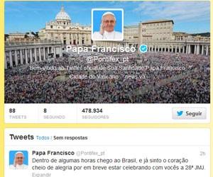 Papa tuíta em avião rumo ao Rio de Janeiro (Foto: Reprodução)