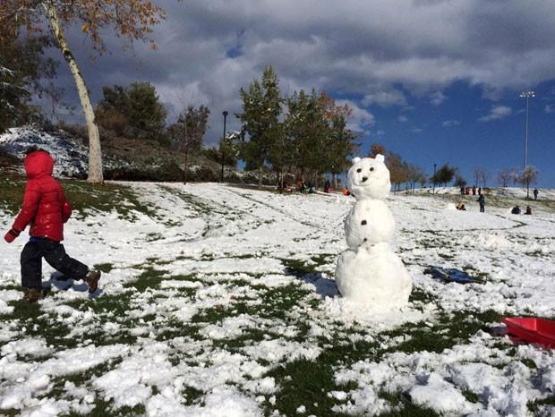 Boneco de neve construído em um parque de Yucaipa, na Califórnia (Foto: Rick Sforza/The Sun/AP)