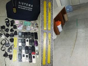 Vinte e dois aparelhos celulares, vários carregadores, 350 gramas de drogas e quatro serras foram apreendidos pelos agentes (Foto: Divulgação/Sejuc)