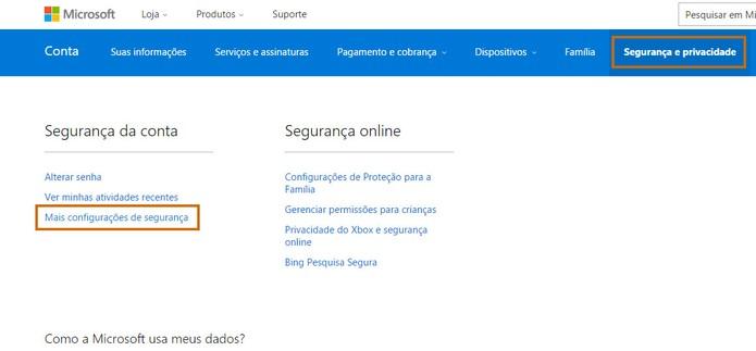 Selecione a configuração de segurança no Outlook.com (Foto: Reprodução/Barbara Mannara)