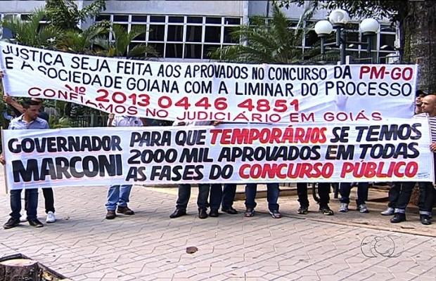 Concursados exigem fim do Simve em Goiás (Foto: Reprodução/Tv Anhanguera)