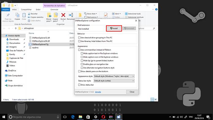 Instale extensão do OldNewExplorer para poder modificar o explorador de arquivos (Foto: Reprodução/Elson de Souza)
