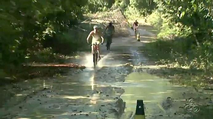 Exército apoia a etapa de triathlon no centro de instrução do CIGS (Foto: Bom dia Amazônia)