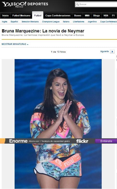 Bruna Marquezine em site estrangeiro (Foto: Reprodução / mx.deportes.yahoo.com)