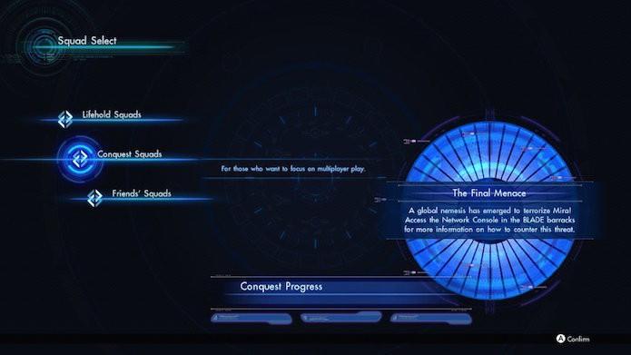 Xenoblade Chronicles X: escolha a opção Conquest Squads ao iniciar o jogo (Foto: Reprodução/Victor Teixeira)