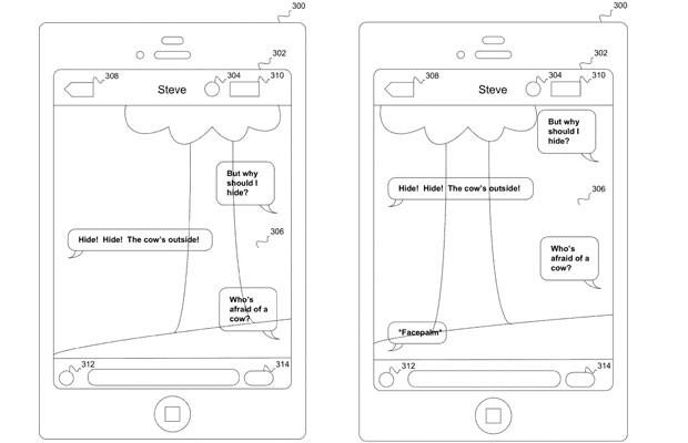 Imagem mostra protótipo de digitação de mensagens sobre tela transparente, que mostra a paisagem; tecnologia foi patenteada pela Apple. (Foto: Divulgação/USPTO)
