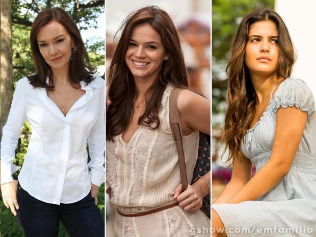 Helena nas três fases: Julia Lemmertz, Bruna Marquezine e Julia Dalavia (Foto: Carol Caminha/Inácio Moraes/TV Globo)