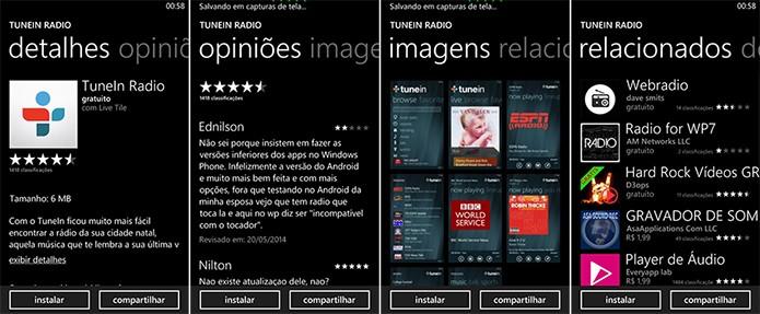 Windows Phone Store exibe todos os detalhes sobre o aplicativo antes de o usuário baixar (Foto: Reprodução/Elson de Souza)