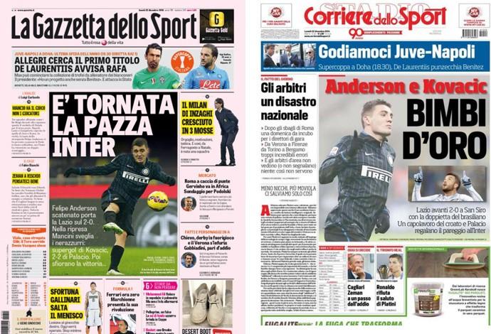 Felipe Anderson é festejado pela imprensa italiana