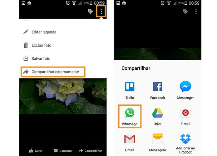 Compartilhe externamente escolhendo o app do WhatsApp (Foto: Reprodução/Barbara Mannara)