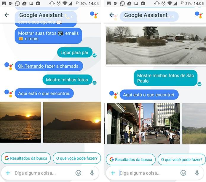 Google Assistant pode pesquisar por imagens na memória do celular ou no Google Photos (Foto: Reprodução/Elson de Souza)
