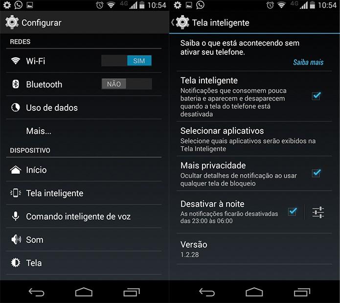 Economia de bateria e privacidade proporcionadas pela Tela Inteligente (Reprodução/Pedro Cardoso)