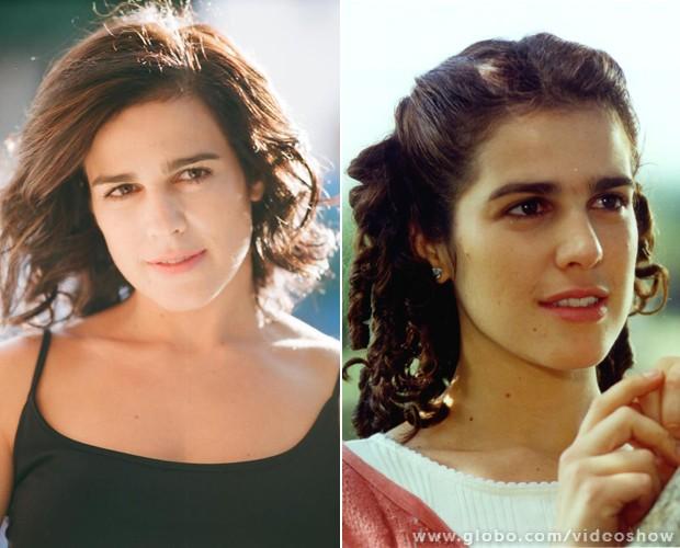 Atriz chega aos 43 anos com a mesma carinha dos 27, quando interpretou Shirley (à direita) (Foto: Vídeo Show/TV Globo)