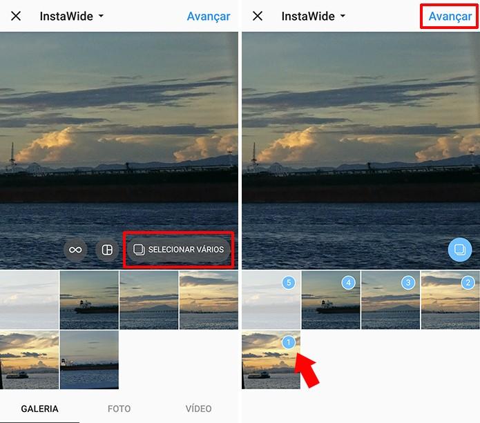 Selecione as fotos do InstaWide observando a ordem do panorama (Foto: Reprodução/Elson de Souza)