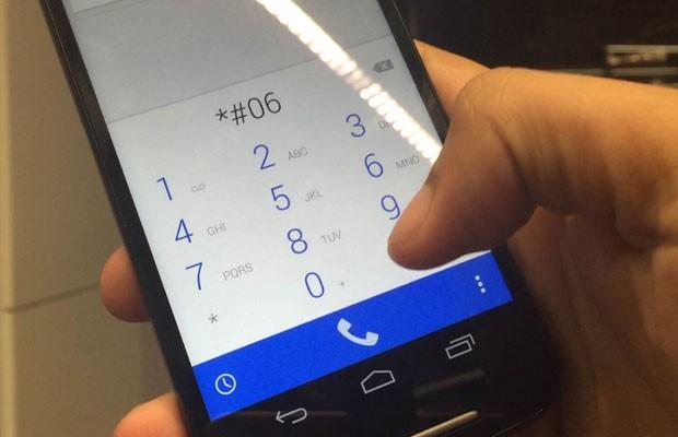 Imei de celulares pode ser obtido ao se digitar '*#06#' no aparelho. (Foto: Reprodução/G1)