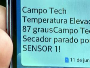 Mensagem de celular é disparada com informações sobre possíveis falhas (Foto: Reprodução EPTV)