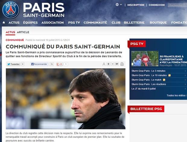 Leonardo pede demissão do PSG (Foto: Reprodução / Site Oficial do Paris Saint Germain)