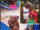 Gaby Amarantos coloca biquíni e aproveita dia com a família na piscina