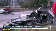 Carro de luxo bate em dois veículos na Marginal Pinheiros e deixa feridos
