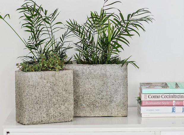 Blocos de cimento viram vasos com ares modernistas (Foto: Elisa Correa / Editora Globo)