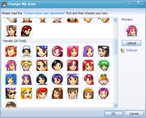 Opções de avatares do QQ Messenger