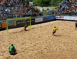 Bruno Xavier perde pênalti nas eliminatórias da Copa do Mundo de futebol de areia (Foto: Reprodução)