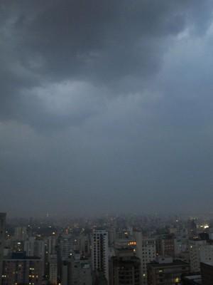 Céu encoberto na cidade de São Paulo no final desta tarde (Foto: Guilherme Tosetto/ G1)