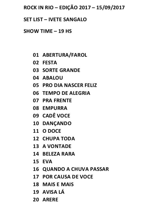Setlist Ivete Sangalo Rock in Rio (Foto: Divulgao)