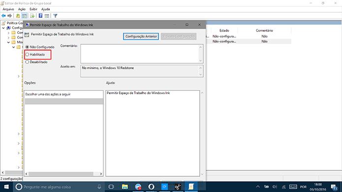 Selecione opção Habilitado para desativar Windows Ink (Foto: Reprodução/Elson de Souza)