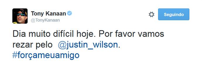 Tony Kanaan publica mensagem de apoio a Justin Wilson (Foto: Reprodução)
