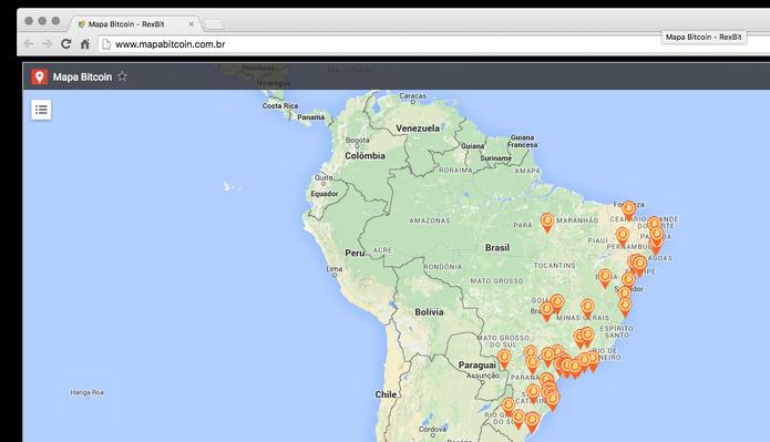Rexbit cria o Mapa Bitcoin, que ajuda a descobrir quais lojas aceitam a moeda (Foto: Reprodução/Rexbit)