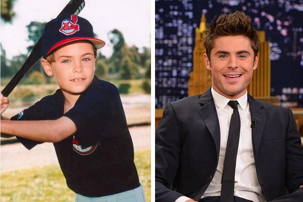 Zac Efron quando criança e em 2014 (Foto: Twitter / Getty Images)