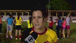 Suelen, jogadora Santana na disputa da Copa do Brasil feminina (Foto: Reprodução/TV Amapá)