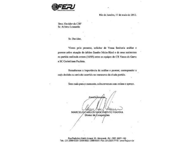 Carta Ferj (Foto: Divulgação / Site Ferj)