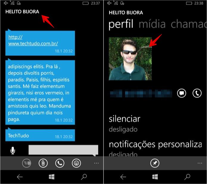 Ampliando foto dos contatos (Foto: Reprodução/Helito Bijora)