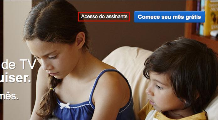 Clicando em Acesso do assinante para entrar no Netflix (Foto: Reprodução/Edivaldo Brito)