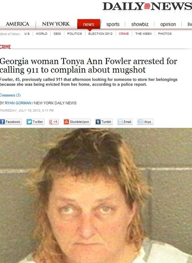 A foto que Tonya Ann Fowler, 45, reclamou estar ruim (Foto: Reprodução)