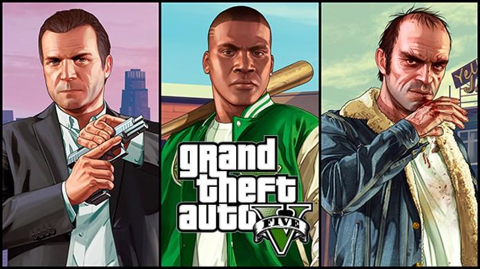 Da esquerda para a direita: Michael, Franklin e Trevor, são os protagonistas de GTA 5 (Foto: Divulgação)
