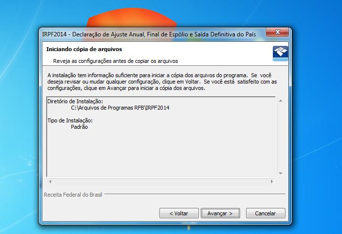 Confirmando os parâmetros de instalação do IRPF 2014 (Foto: Reprodução/Edivaldo Brito)