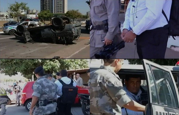 Cinegrafista foi preso enquanto filmava acidente com carro da PM, em Goi&#226;nia (Foto: Divulga&#231;&#227;o/TV Goi&#226;nia)