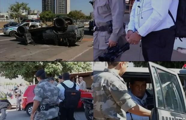 Cinegrafista foi preso enquanto filmava acidente com carro da PM, em Goiânia (Foto: Divulgação/TV Goiânia)
